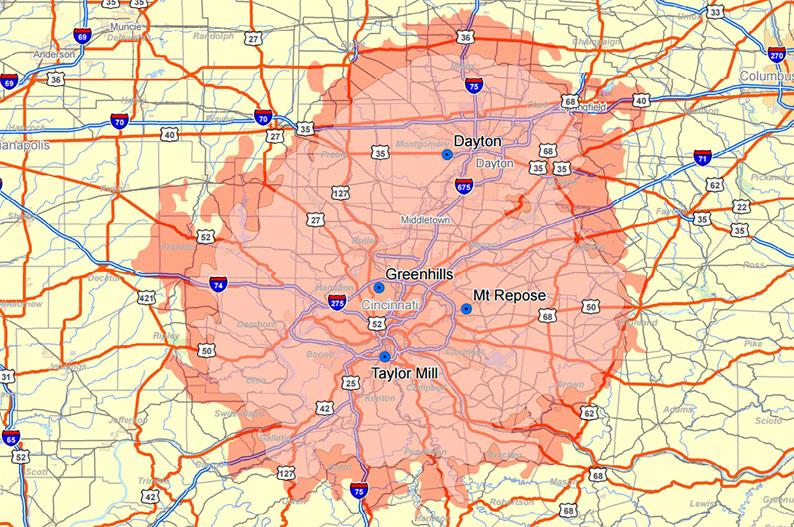 Wide Area Two-way Radio Coverage Maps Cincinnati MOBILCOMM ...